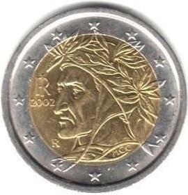 Moeda italiana em 2 euros.