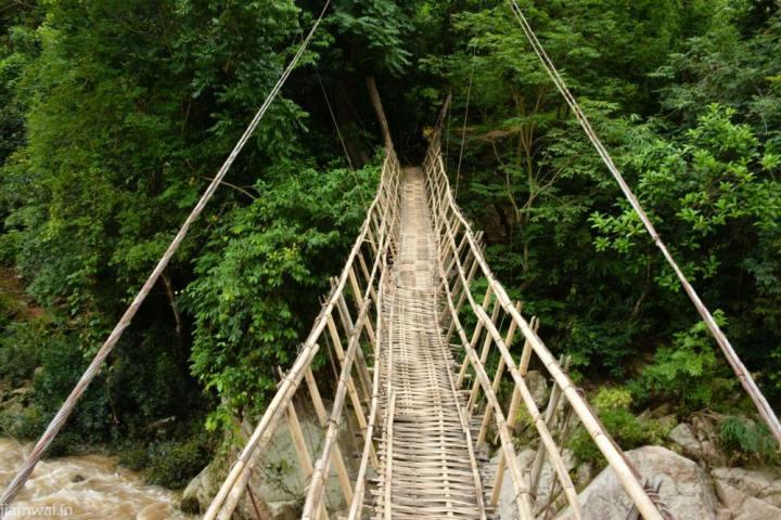 Bamboo bridge on Pelga falls