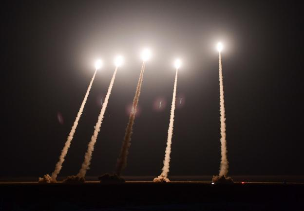 Night firing exercises by rocket artillery belonging to 71st Group Army, Eastern Theater Command