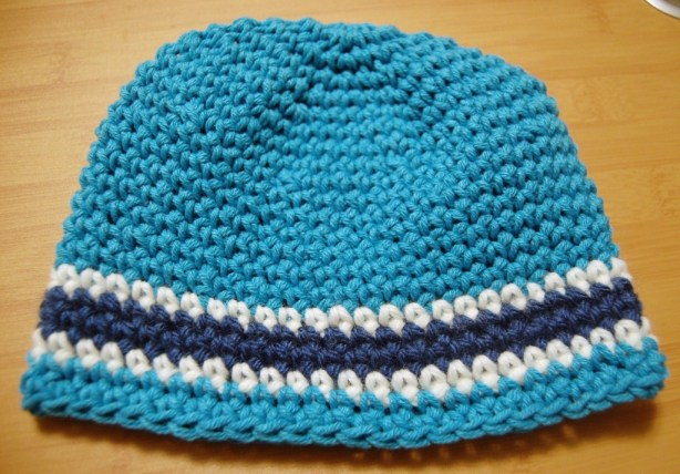 Turquoise, Cobalt Blue, and White Crochet Boy's Hat