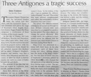 Oliver Koomsatira Review The McGill Daily Greg Chernick Three Antigones Role Creon