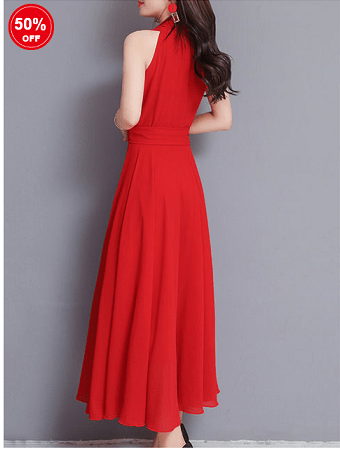 Image_Popjulia_v_neck_women_dress_red_backside