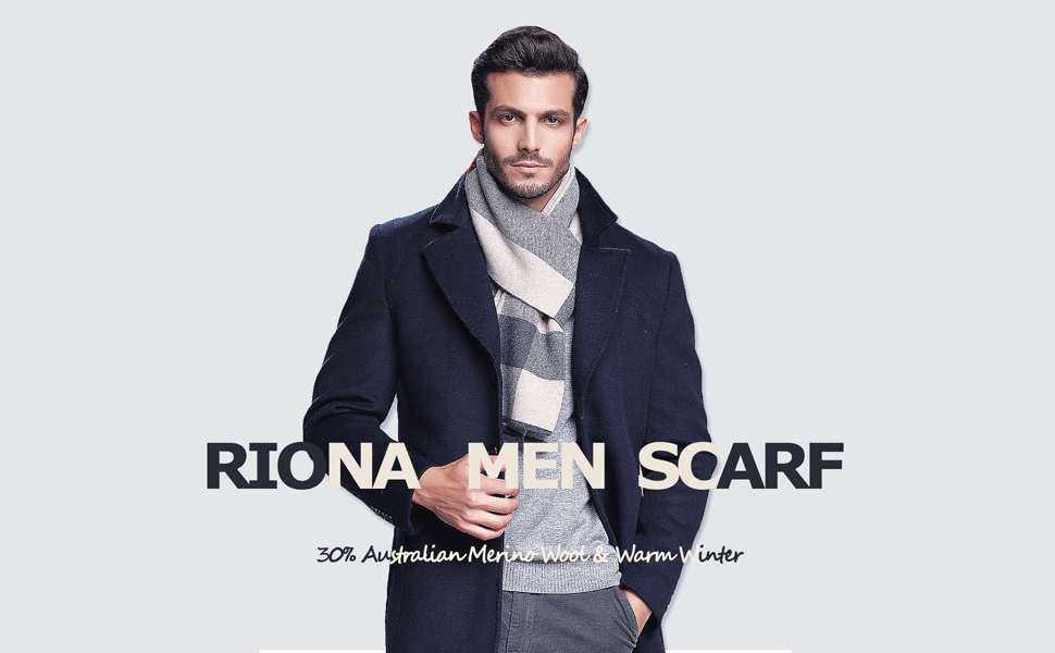 RIONA Mens Winter Warm Australian Wool Cashmere Feel Soft Knitted Gentleman Scarf with Gift Box