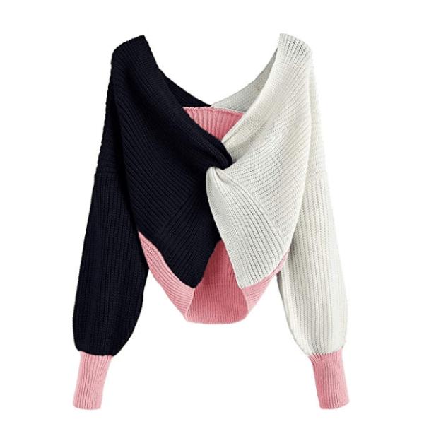 ZAFUL Women's Criss Cross Colour Block Twisted Pullover Crop Knitted Jumper Jumper Sweatshirt (pink)