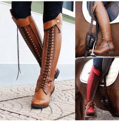 berrylook plain flat round toe date outdoor knee high flat boots_1