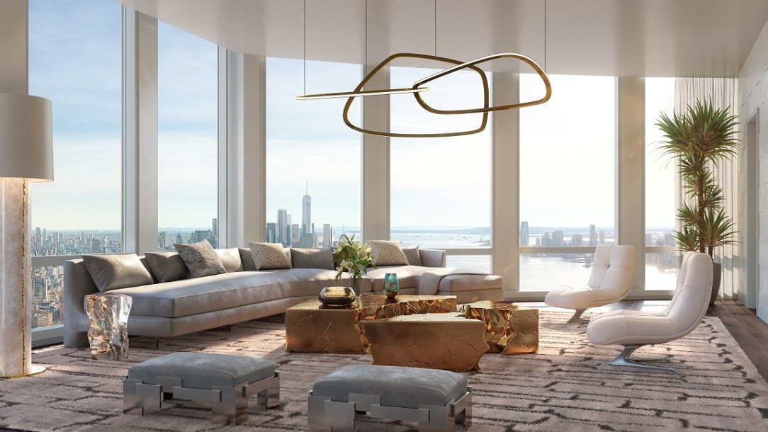 35 Hudson Yards Living Room with Hudson River Views - courtesy of Related-Oxford