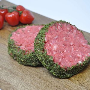 Burgers with peppered sauce center