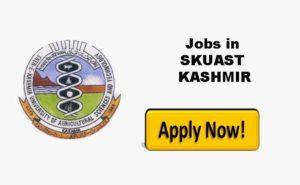 SKUAST Kashmir Jobs Recruitment 2021.