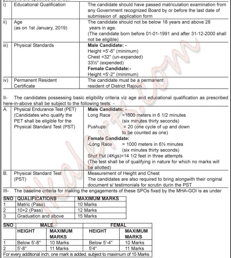 J&K Police SPO RajaouriJobs Recruitment 2019