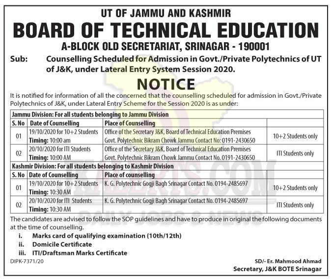 J&K Board of Technical Education Counselling Scheduled under Lateral Entry System.