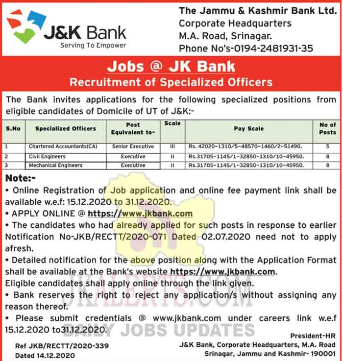 JK Bank Specialized Officers Jobs Recruitment 2020.