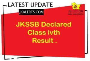 JKSSB Class IV Result Declared Download Result PDF.
