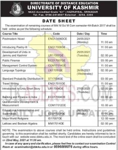 Kashmir University Date sheet MA, M.Sc, M.Com online exam schedule.