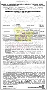 GMC DODA Jobs Recruitment 2021 Assistant Professor posts.