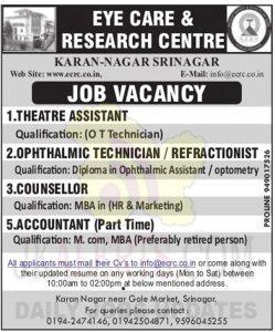Eye Care & Research Centre Srinagar Jobs.
