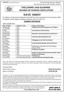 JKBOSE D.EI.Ed Date Sheet 2021 Jammu Division.