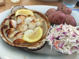 Broiled scallops at Lenny and Joes seafood restaurant on the Long Island Sound.