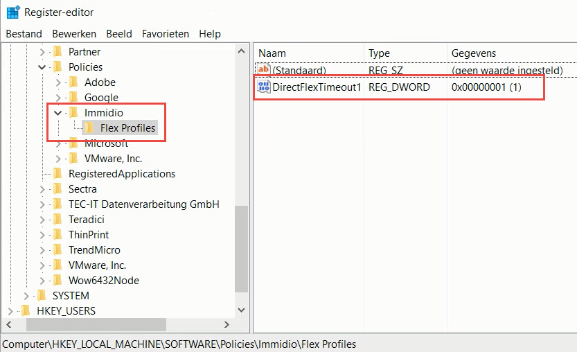 VMware UEM registery