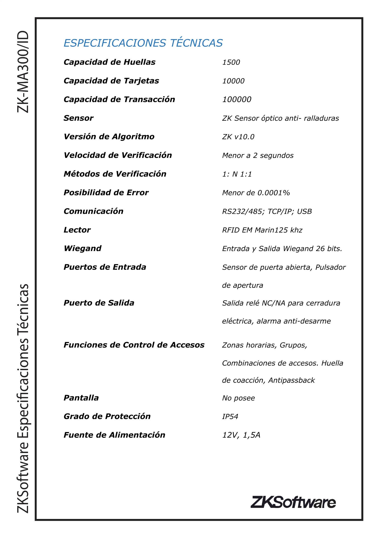 Control De Acceso Huella Y Proximidad Sin Fuente Zk Ma300