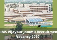 AIIMS Vijaypur Jammu Recruitment Vacancy 2020