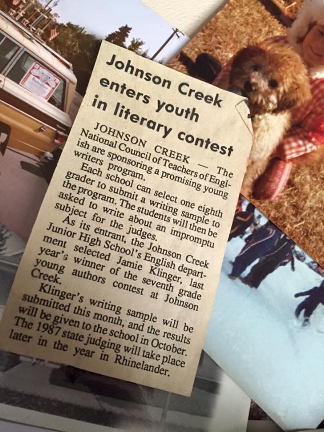 Jamie Klinger-Krebs youth writing contest 1987
