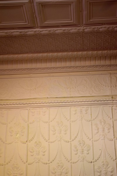 antique ceiling tiles on wall and ceiling