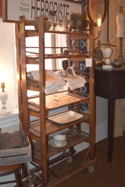 We loved the antique baker rack!