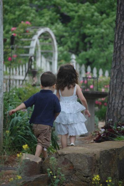 """Heading back to the secret garden along the rock wall. The grandchildren actually call this garden the """"Bunny Bakery"""""""