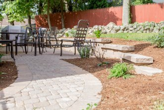 Patio, Walkway, Stone Wall, & Landscape Bed