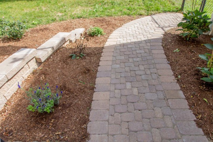 Walkway, Stone Wall, & Landscape Bed