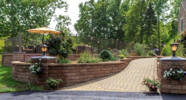 Retaining Wall, Walkway, Landscape Beds