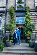 Kathleen and I in front of the Scotch Malt Whisky Society