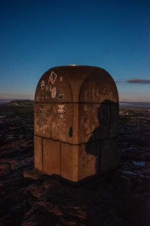 The monument at the top of Arthur's Seat