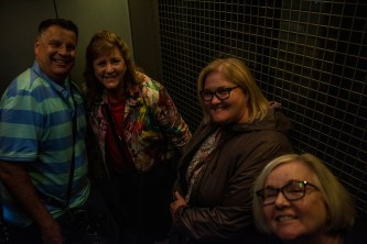 Steve, Jamie, Holly and Kathleen take the elevator up to the Titanic Ride