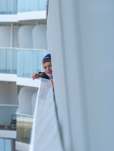 The best way ever to wake up on a ship—look out your verandah and see your grandson.