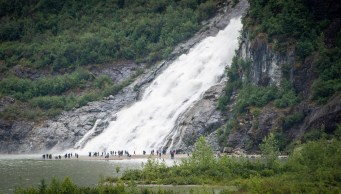 The waterfall from the melting Mendenhall Glacier