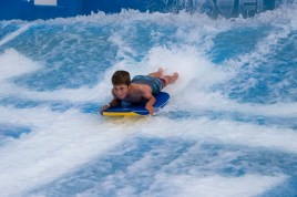 But later in the day, Mason TRIUMPHED on the Flowrider. More about that tomorrow.