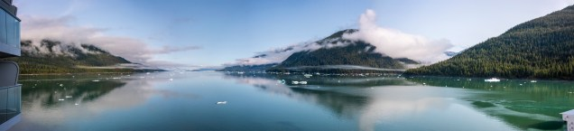 A panoramic view of what we could see up the fjord.
