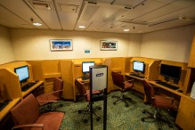 This is the Internet room for the entire ship—about the size of two inside staterooms. Living proof that most people bring their own devices today.