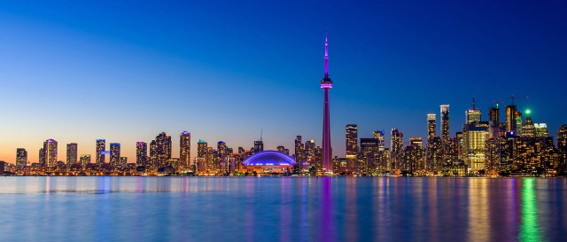 Toronto city skyline at night, Ontario, Toronto