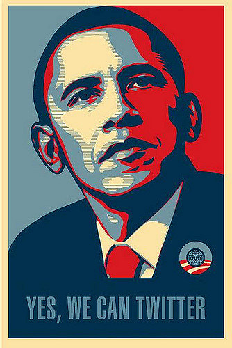 """A variation of Shepard Fairey's """"Hope"""" poster of Barack Obama during the 2008 campaign. Instead of """"Hope"""" at the bottom, it reads """"Yes, We Can Twitter."""""""