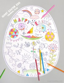 Giant Easter egg coloring page (6 page printable) from Mr. Printables