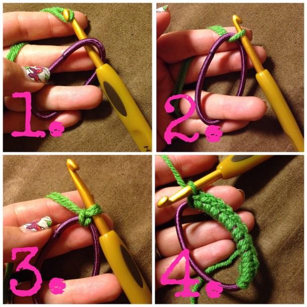 Crochet elastic hair tie