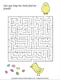 Several free printable Easter-themed mazes