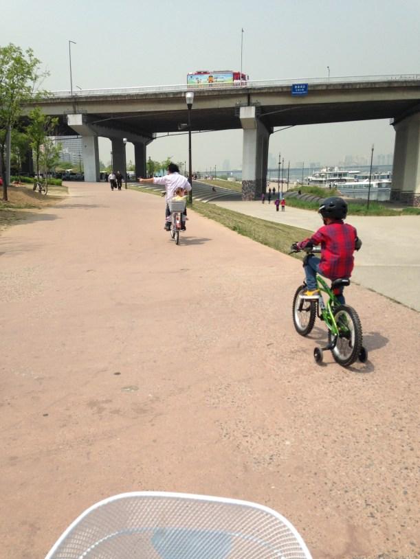 Riding Bikes at Yeouido Park