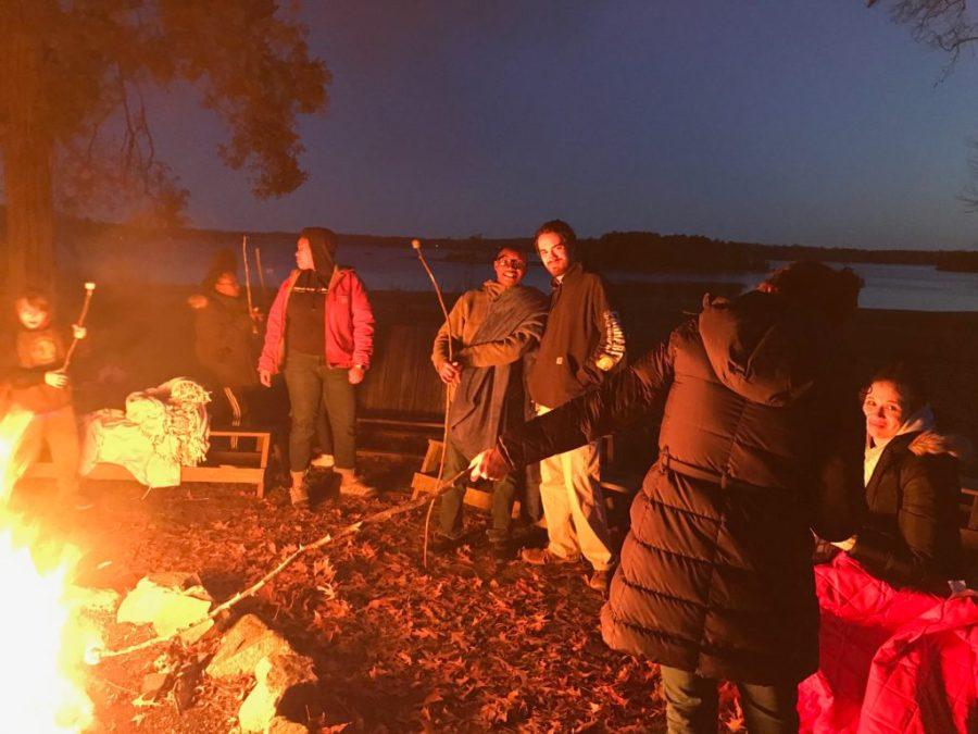 image of students at a bonfire