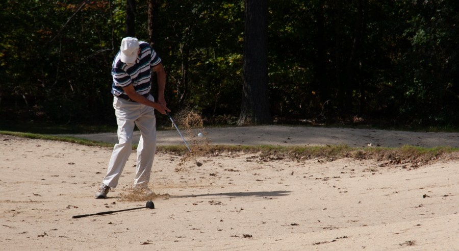 chipping out of the sand