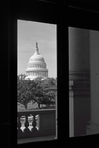 The view of the Capitol Building from the Library of Congress