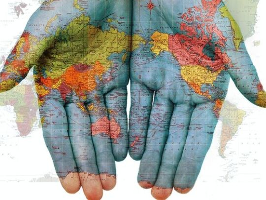 earth map on hands