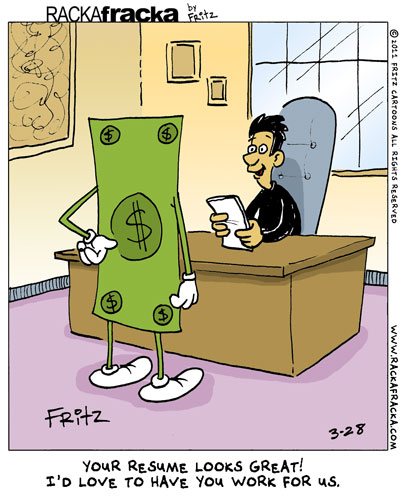 Money working cartoon